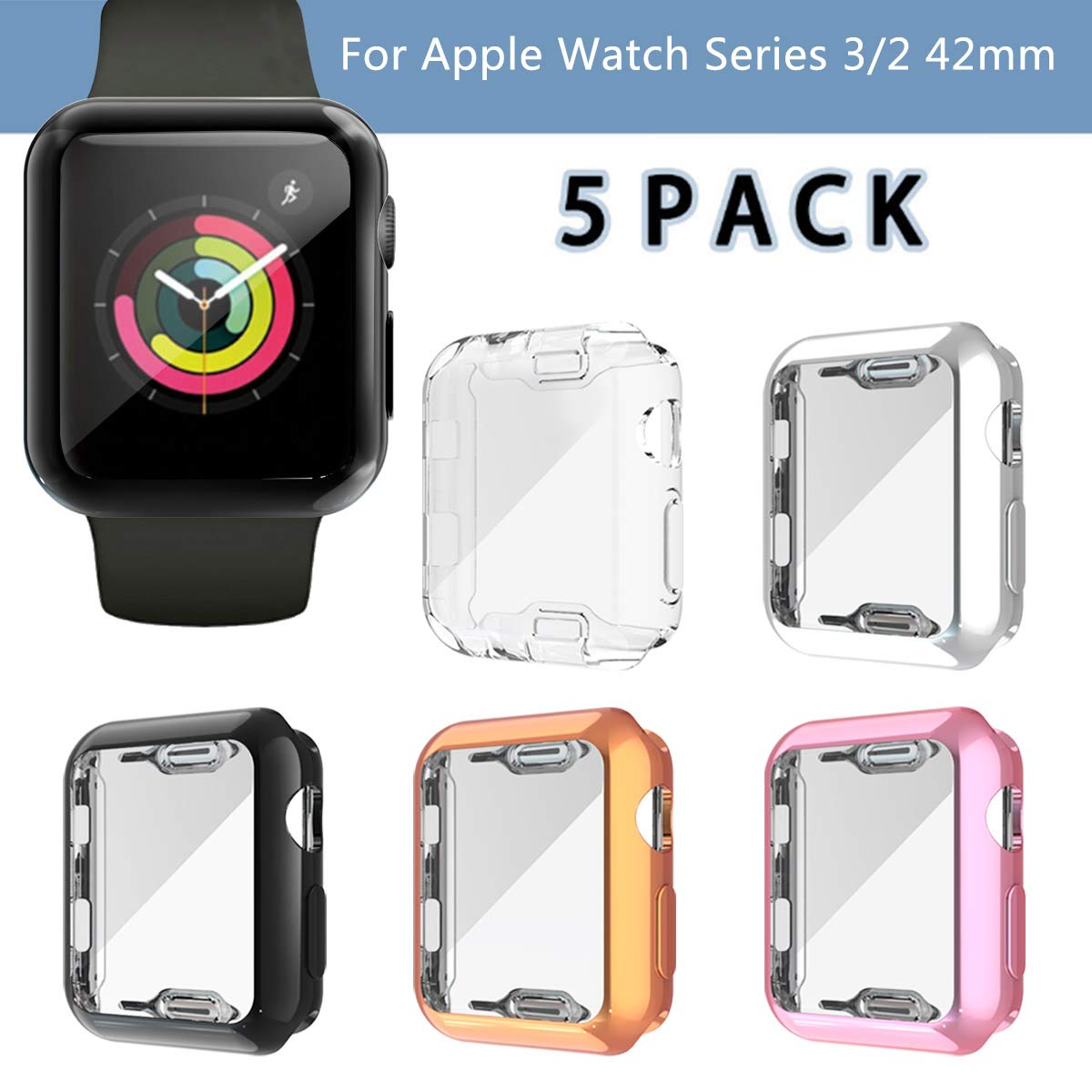 5 Pack Case Compatible with Apple Watch Series 3 Screen Protector 42mm, Haojavo Soft Plated TPU Full Protective iWatch Case Cover for Apple Watch Series 3/2/1 42mm Accessories by Haojavo