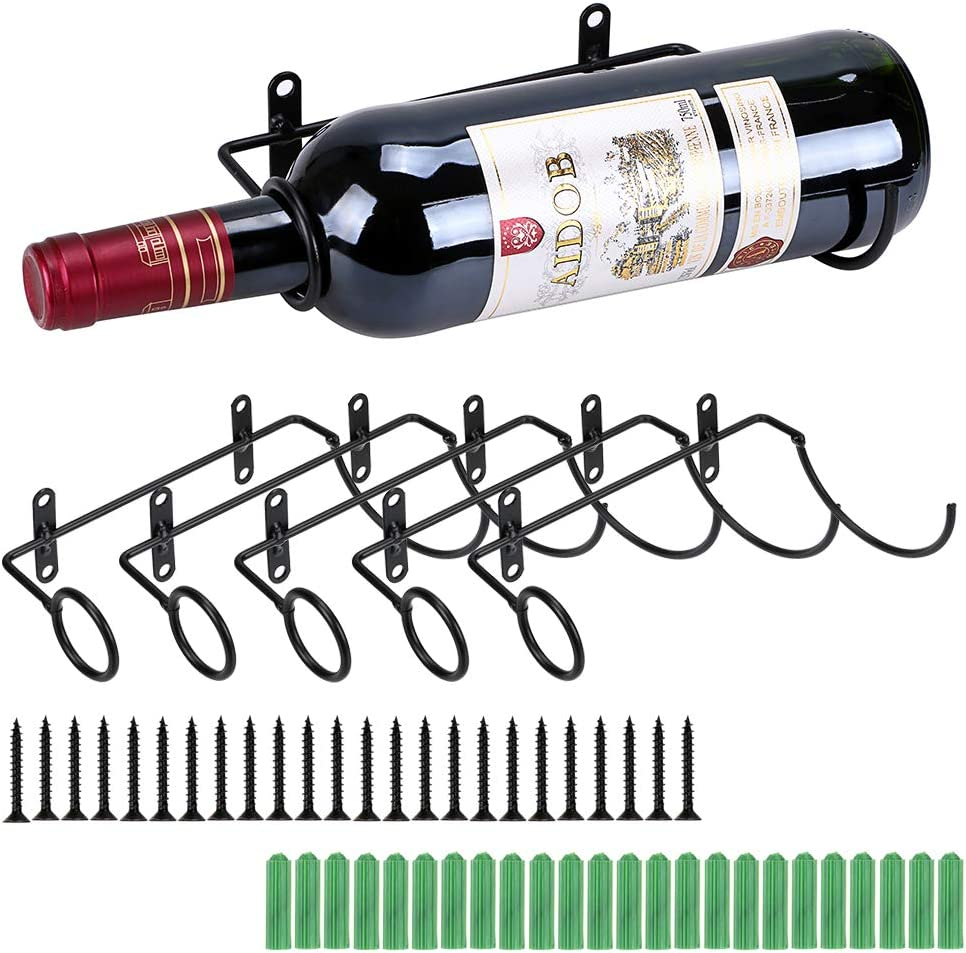 BSTKEY Soportes de pared de hierro de 6 piezas para botellas de vino, bebidas para adultos, soporte para botellas de licor, organizador de metal para colgar botellas de vino, estante de almacenamiento