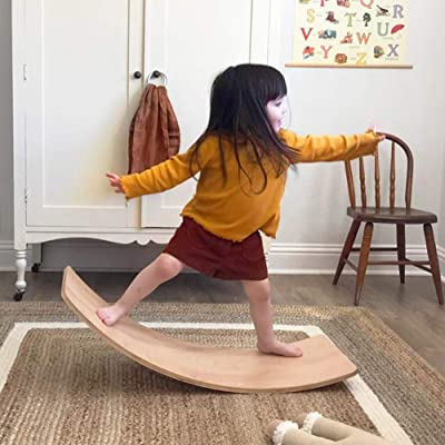 little dove Wood Balance Board Wobbel Balance Board Kid Yoga Board Curvy Board - Wooden Rocker Board Kid Size Wood: Sports & Outdoors