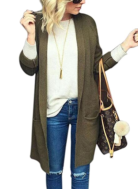 4fcb1e4946 Women s Sweaters Cardigan Long Sleeve Loose Fit Knitted Outerwear Coat with  Pocket S Army Green