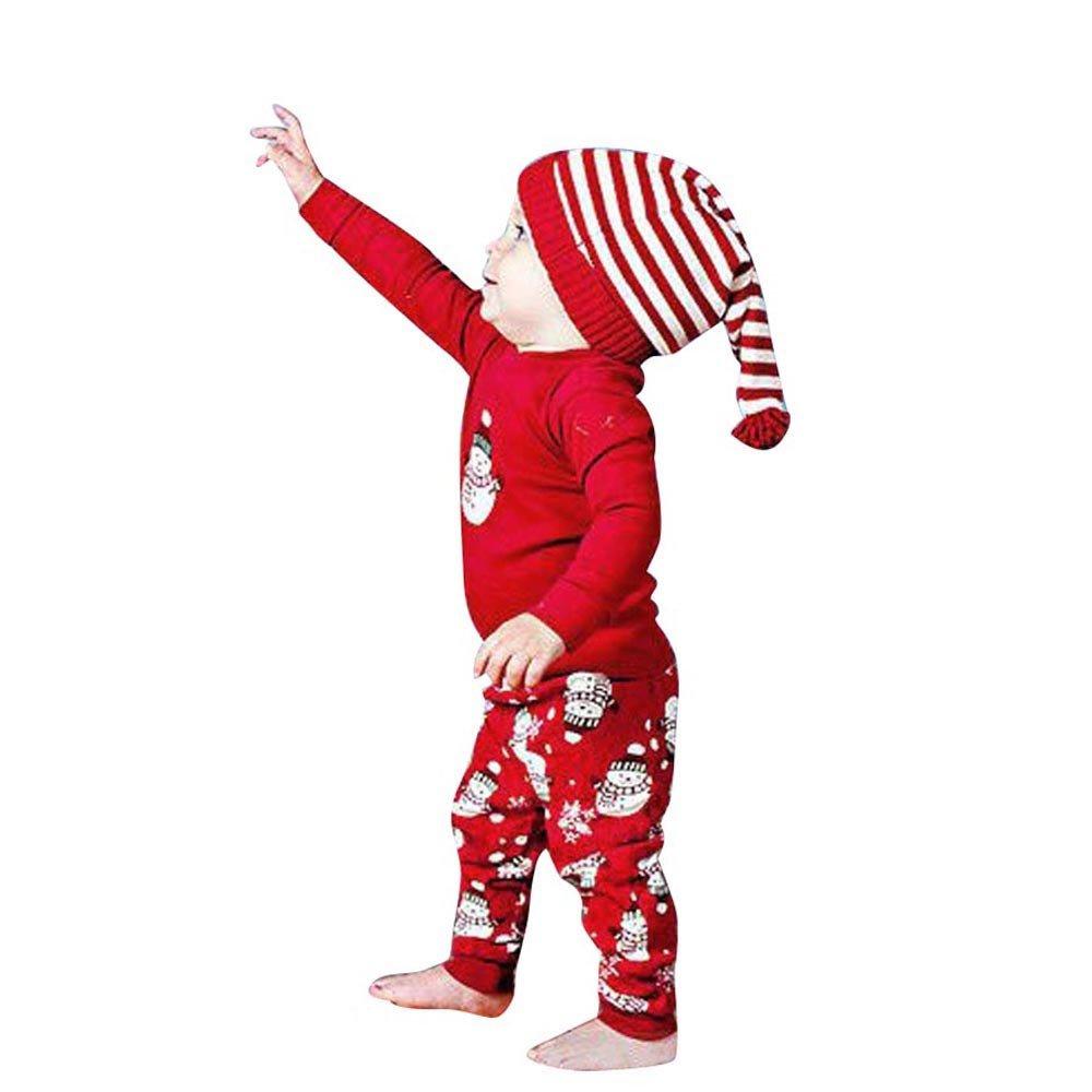 Subfamily Ropa para niños, Camiseta de Manga Larga navideña + pantalón de muñeco de Nieve, Adecuado para niños de 6 Meses a 2 años.