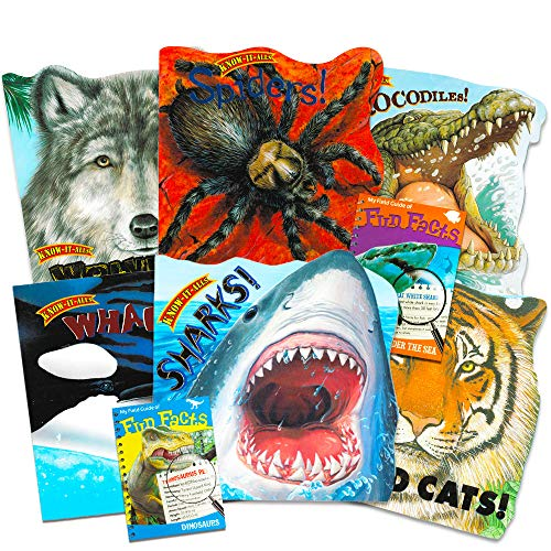 Know-It-All Educational Nature Books for Kids Toddlers -- Set of 8 Books About Wild Animals (Sharks, Dinosaurs, Spiders, Wolves, Whales, Wild Cats and Crocodiles)