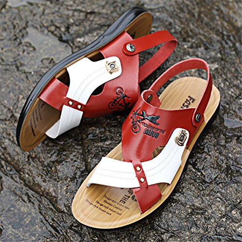 Leather Men's Casual Beach Slippers B Breathable Outdoor Summer Outdoor 44 amp; Color Office Career Sandals HUAN Soft Size qAwUq1C