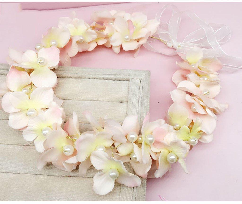 Wreath Flower, Headband Flower Garland Handmade Wedding Bride Party Ribbon Headband Wristband Hairband Pink/White/Purple/Green (Color : E)