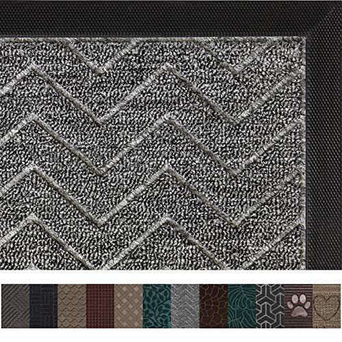 Gorilla Grip Original Durable Rubber Door Mat, 29 x 17, Heavy Duty Doormat, Indoor Outdoor, Waterproof, Easy Clean, Low-Profile Mats for Entry, Garage, Patio, High Traffic Areas, Charcoal Chevron (Best Indoor Front Door Mat)