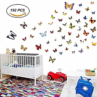 H2MTOOL Butterfly Wall Stickers, 192 PCS Removable Butterflies Wall Decals for Girls Kids Room Decor (192 PCS)