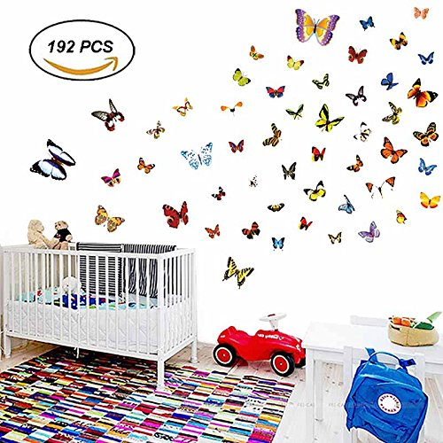 H2MTOOL Butterfly Wall Stickers, 192 PCS Removable Butterfli