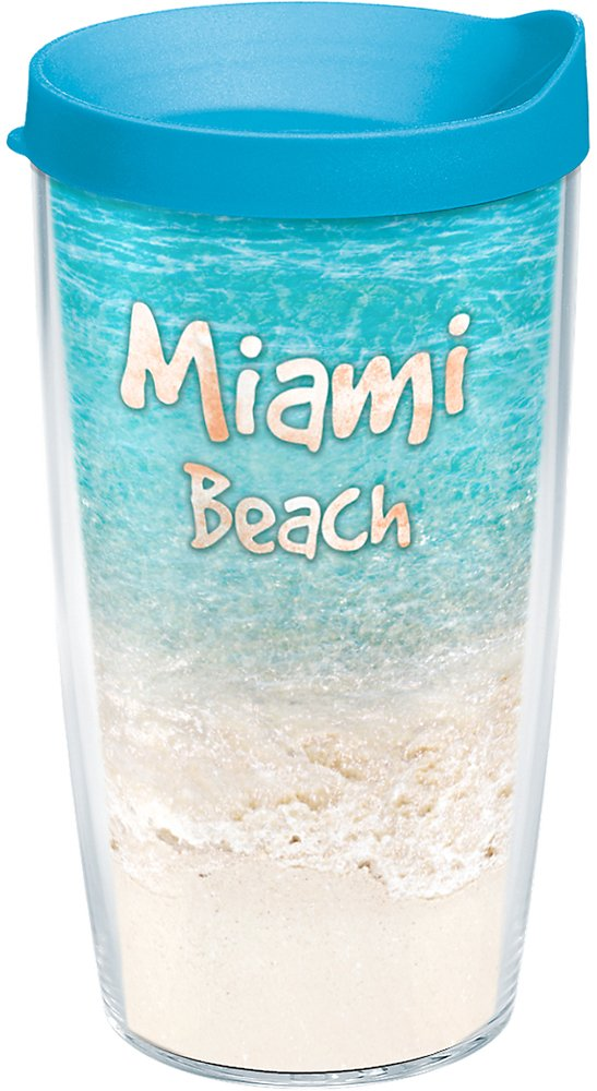 Tervis 1191025 Florida Tropical Miami Beach Insulated Tumbler with Wrap and Turquoise Lid 16oz Clear