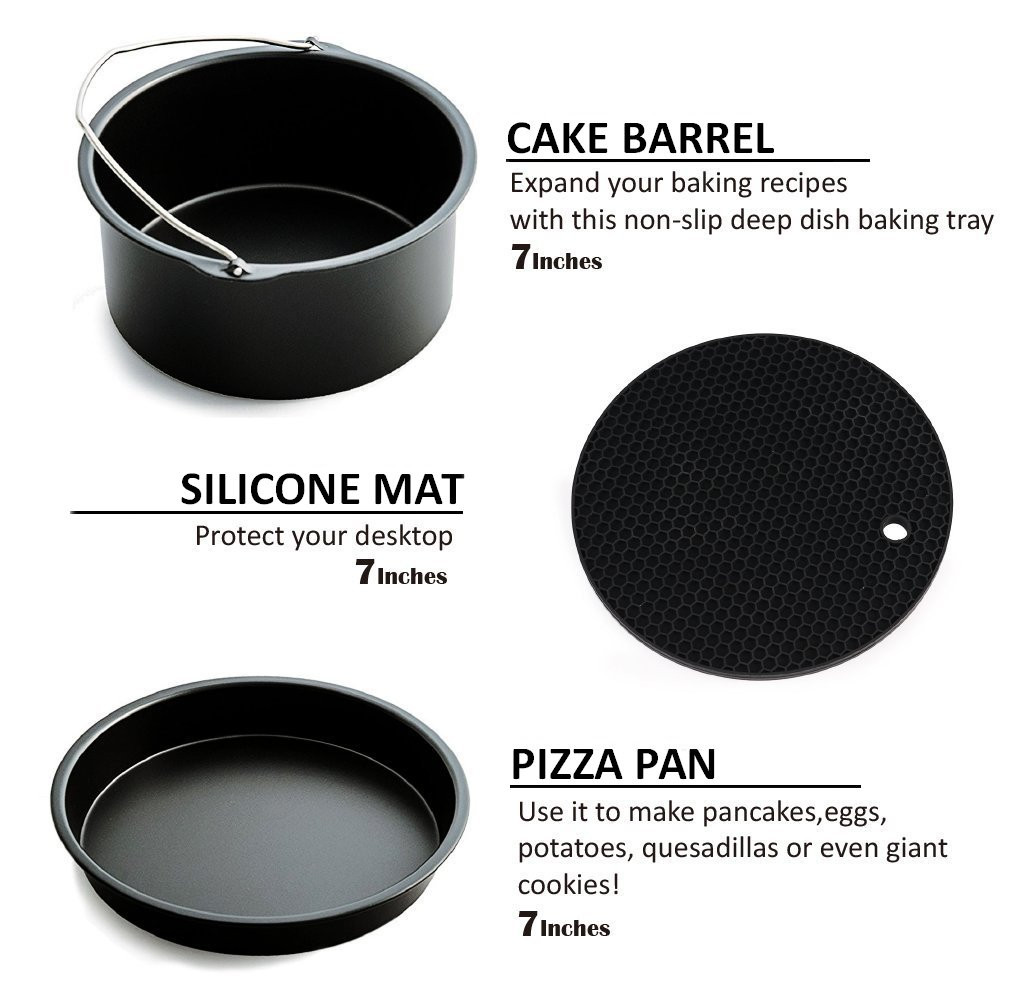 Deep Fryers Universal Air Fryer Accessories Including Cake Barrel,Baking Dish Pan,Grill,Pot Pad, Pot Rack with Silicone Mat by Bellagione (8 Pcs) by Bellagione (Image #5)