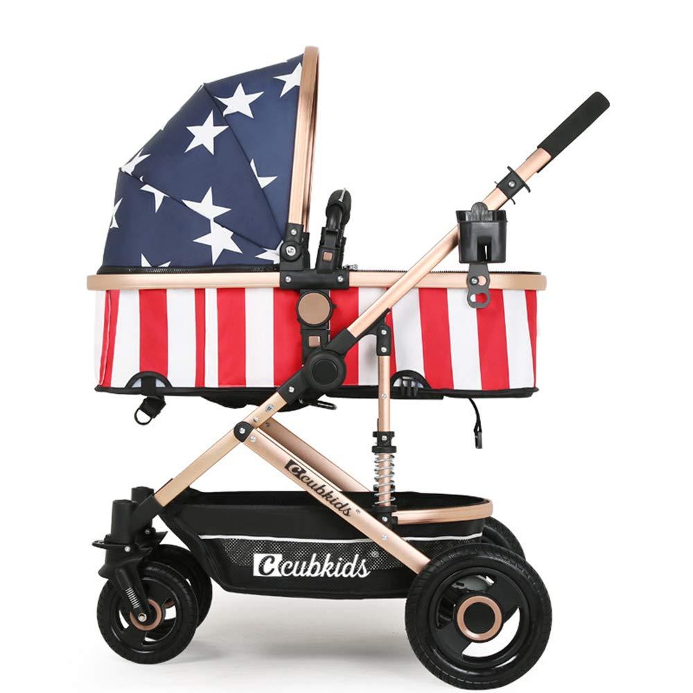 ベビーカー、0-36ヶ月の赤ちゃんに適した、折りたたみ式ショック折りたたみ式ベビーカー、ワンステップ折りたたみ式リクライニング  Blue star B07MV6JLWN