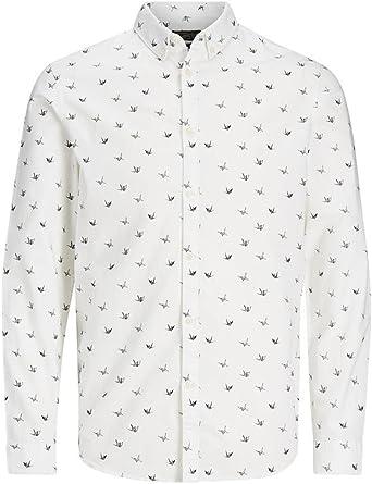 JACK & JONES Camisa Blanca Estampada JORCHOPPY Shirt LS Cloud Dancer/Slim (S): Amazon.es: Ropa y accesorios