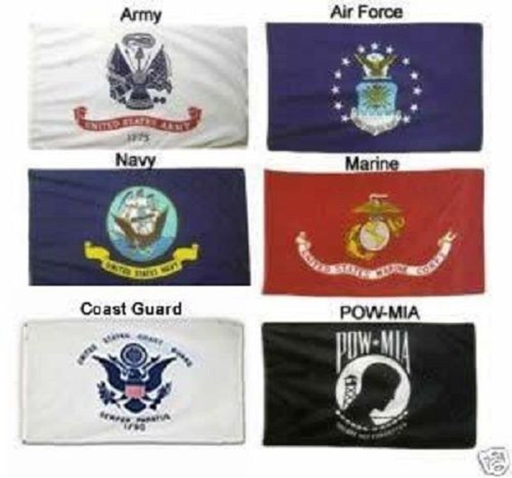 2X3 Military Branches (Army, Navy, air Force, Marines and Coast Guard) & Pow Mia Double Sided Polyester Flag Set Novelty Stores Online