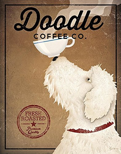 Buyartforless White Labradoodle Coffee Co by Ryan Fowler 14x11 Signs Dogs Animals Art Print Poster Wall Decor Vintage Advertising Sign Labra Doodle