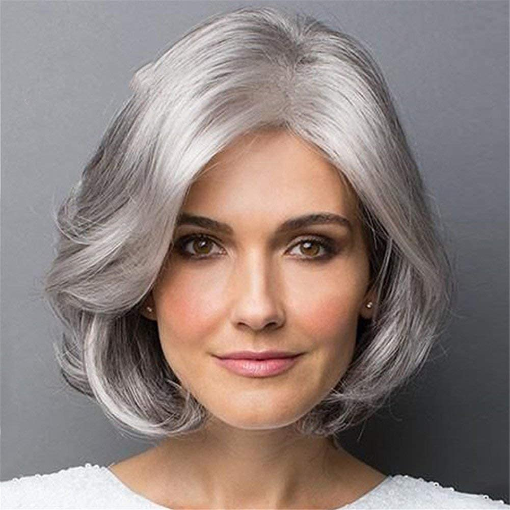 Ombre Grey Short Bob Hair Synthetic Wigs Side Parting 2 Tones Silver Gray Short Wavy Bob Wig For Women 13 135g Amazon Co Uk Sports Outdoors
