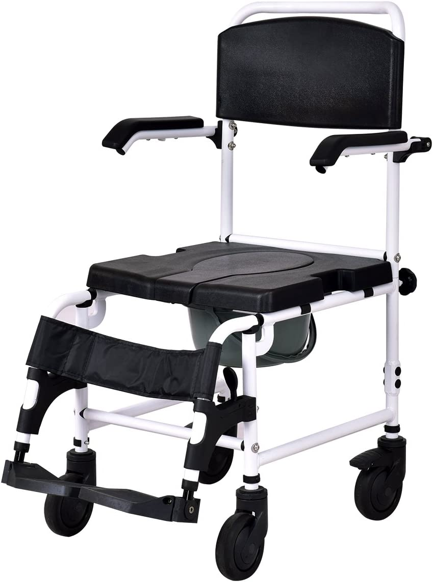 "Giantex Shower Wheelchair Over Toilet with Commode Lift Arms Bathroom Sturdy Aluminum Frame PU Leather Padded Seat Backrest Fast-Remove Legrest Footrest Patient Wheelchairs w/ 5"" Locking Caster, Black 61JfNa5QEDLSL1200_"