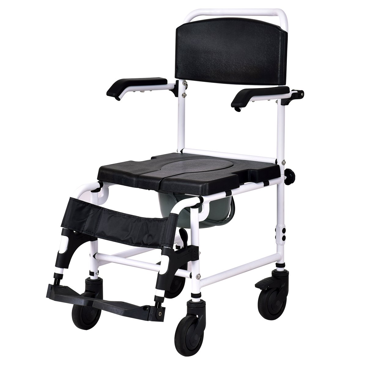 Giantex Shower Wheelchair Over Toilet with Commode Lift Arms Bathroom Sturdy Aluminum Frame PU Leather Padded Seat Backrest Fast-Remove Legrest Footrest Patient Wheelchairs w/ 5'' Locking Caster, Black