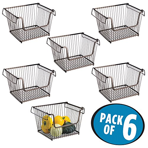 mDesign Household Stackable Wire Storage Organizer Bin Basket with Built-In Handles, Open Front for Kitchen Cabinets, Pantry, Closets, Bedrooms, Bathrooms - Large, Pack of 6, Steel in Bronze Finish (Basket Stackable)