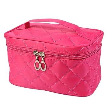 202a9e7aa478 LtrottedJ Women Square Case grain Of Pure Color Cosmetic Bag (Hot Pink)