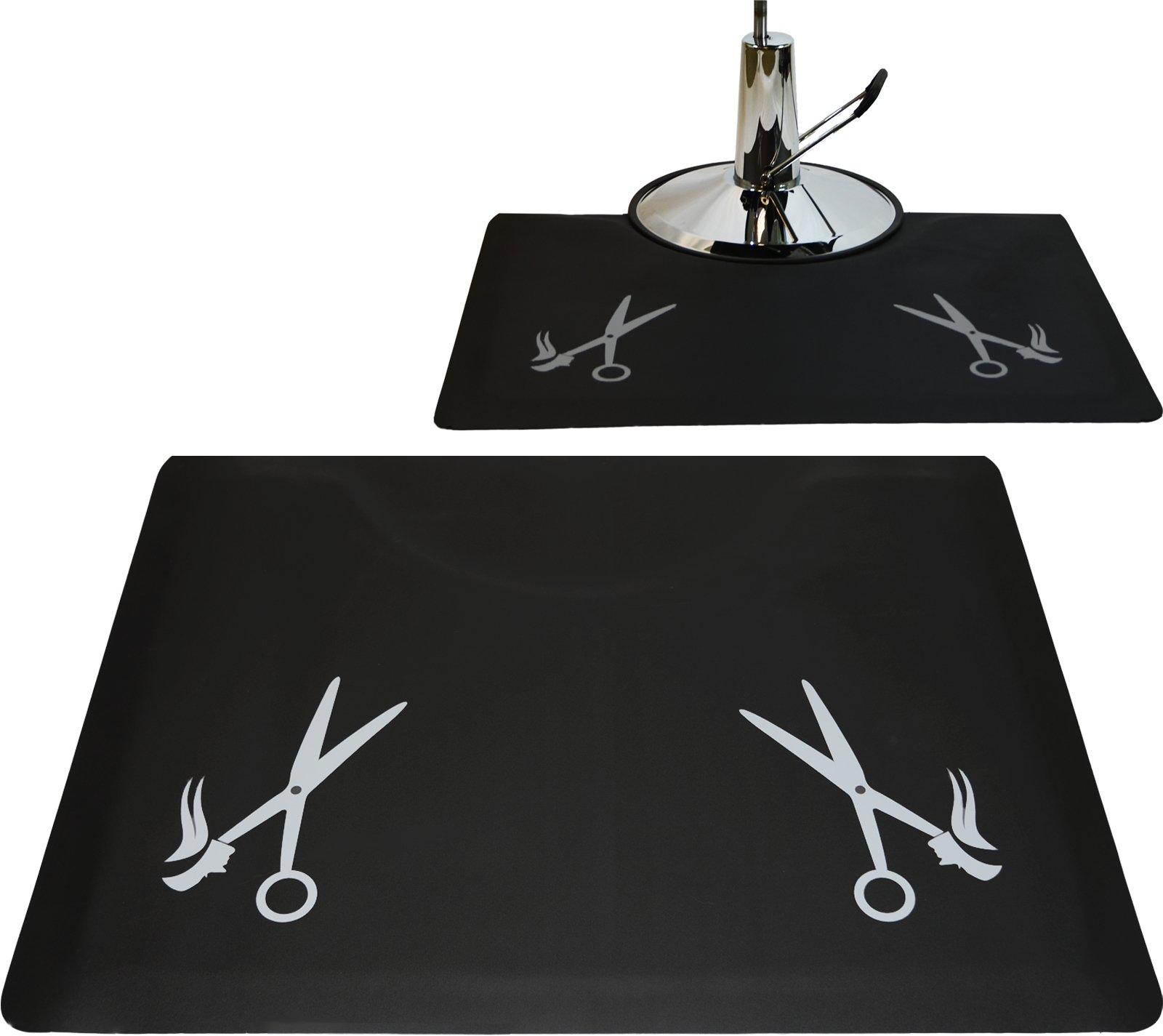 LCL Beauty 1/2'' Rectangle Anti Fatigue Beauty Barber Floor Mat with Grey Salon Scissor Design