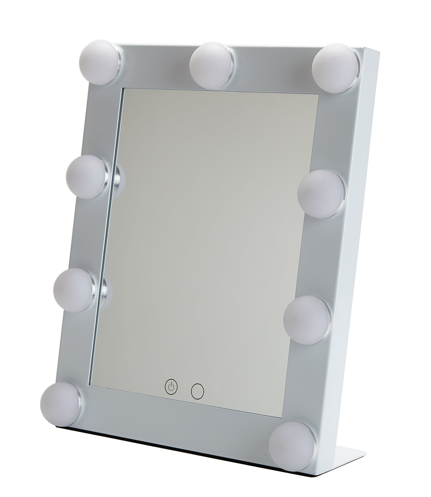 Yvettevans Hollywood Makeup Vanity Mirror with Light Tabletops Lighted Mirror with Dimmer Stage Beauty Mirror Valentine's Day Gift Small (White)