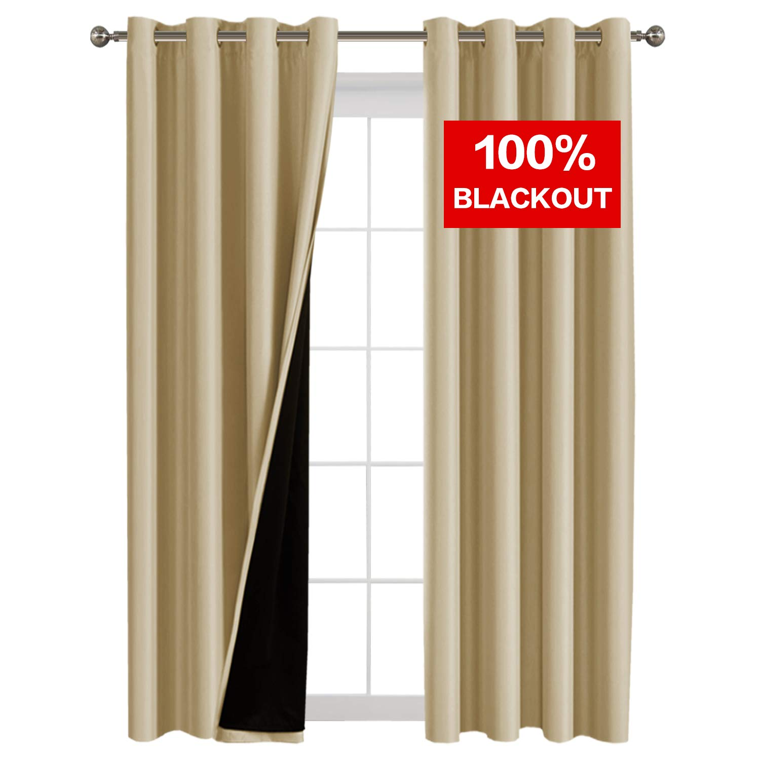 Flamingo P Full Blackout Wheat Curtains Faux Silk Satin with Black Liner Thermal Insulated Window Treatment Panels, Grommet Top (52 x 108 Inch, Set of 2)