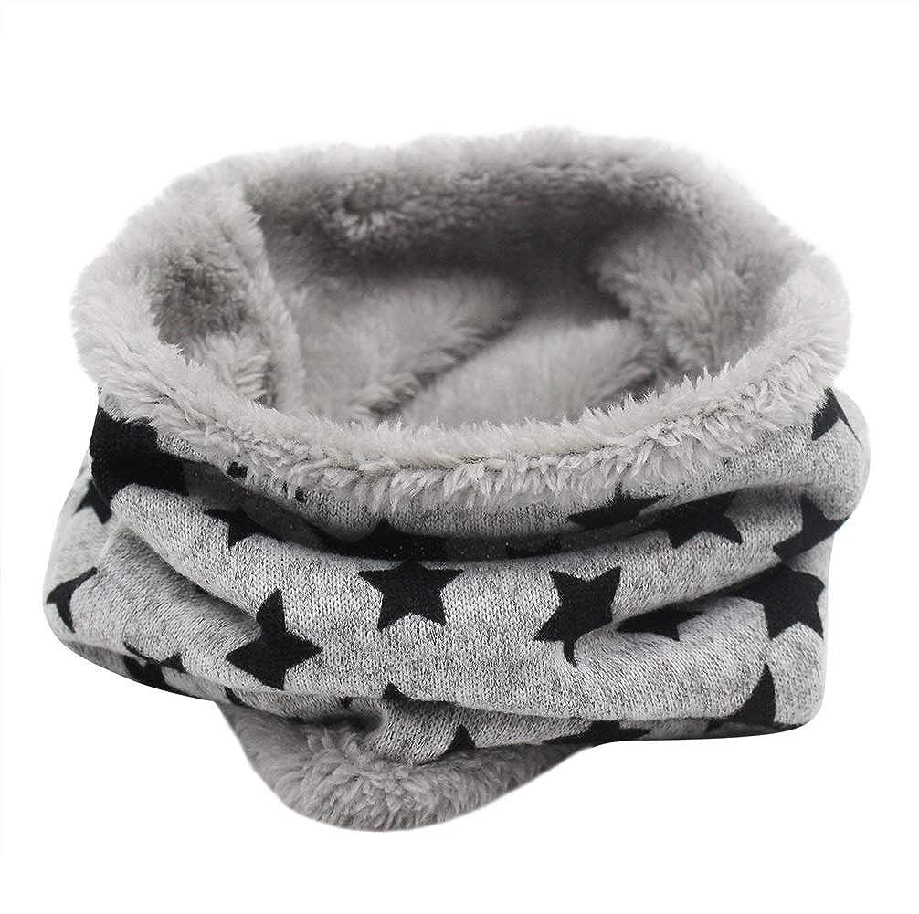Kids Boys Girls Warm Infinity Scarf Winter Fleece Lined Soft Neck Warmer