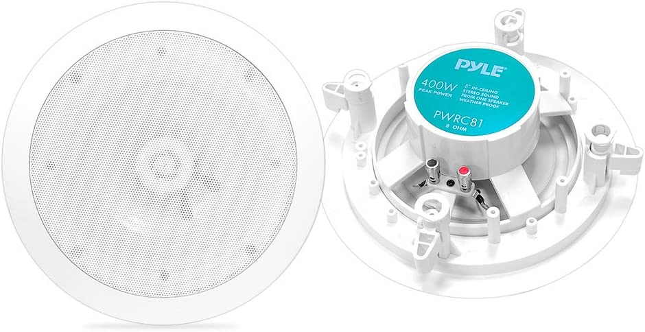 "8"" Ceiling Wall Mount Speakers - 2-Way Weatherproof Full Range Woofer Speaker System (Pair) Flush Design w/ 55Hz-22kHz Frequency Response 400 Watts Peak & Template for Easy Installation - Pyle PWRC81"