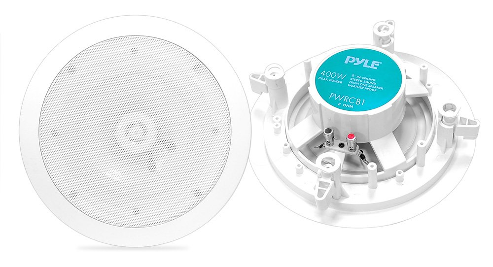 "8"" Ceiling Wall Mount Speakers - 2-Way Weatherproof Full Range Woofer Speaker System (Pair) Flush Design w/55Hz-22kHz Frequency Response 400 Watts Peak & Template for Easy Installation - Pyle PWRC81 by Pyle"