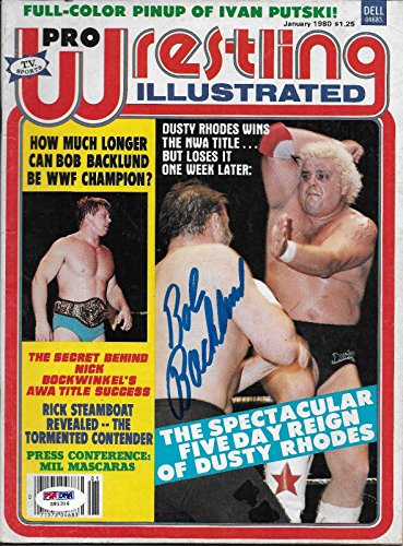 - Bob Backlund Signed WWE 1980 Pro Wrestling Illustrated Magazine COA Auto - PSA/DNA Certified - Autographed Wrestling Miscellaneous Items