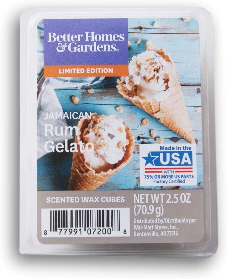 Better Homes and Gardens 2018 Limited Edition Jamaican Rum Gelato Wax Cubes