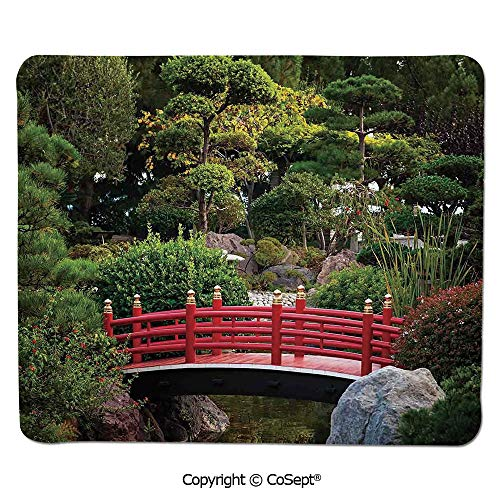 (Mouse Pad,Tiny Bridge Over Pond Japanese Garden Monte Carlo Monaco Along with Trees and Plants Decorative,for Computer,Laptop,Home,Office & Travel(7.87