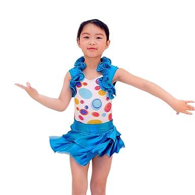 32e9fee6f MiDee 2 Pieces Tank Top Polka Dots Ruffle Collar Ballet Latin Dress ...