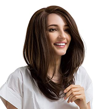 Amazon Com Asifen Wigs Long Layered Straight Hair Wig 20 Brown