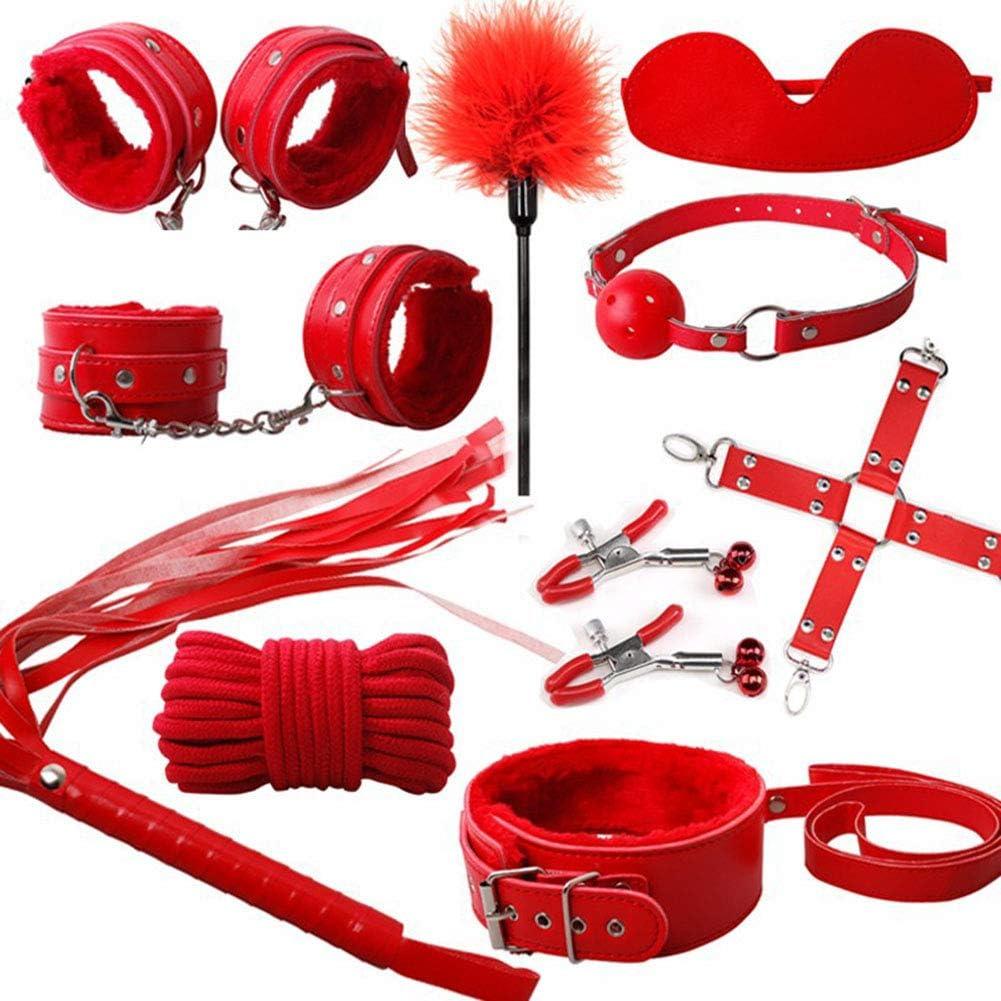 LWYJ Los Productos Adultos del Cuero SM Juego de Piezas 10 Alternativa Bundle Adultos Encuadernación Pareja Juguetes Foreplay Flirt Esposas Juguetes de la diversión,Rojo