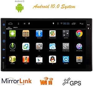 """Car Stereo GPS Navigation 2Din Radio with Bluetooth 7"""" Android 10.0 HD Capacitive Touch Screen Double Din in Dash FM AM Radio Support Wifi/DVR/1080P Video Player/Mirror Link/Steering Wheel Control"""