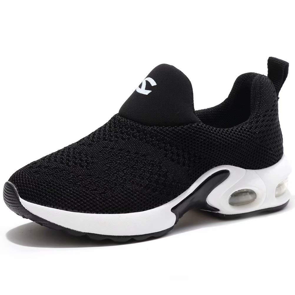 BODATU Kids Boys Girls Running Shoes Comfortable Fashion Light Weight Slip on Black Size 29