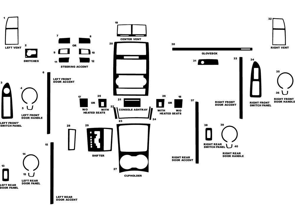 Rdash Dash Kit Decal Trim for Dodge Charger 2008-2004 / Magnum 2005-2008 - Carbon Fiber 3D (Red) Rvinyl