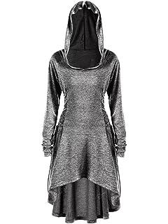b40e35c3e720 Gemijack Womens Long Sleeve Hoodie Dress High Low Lace Up Medieval Midi  Dresses