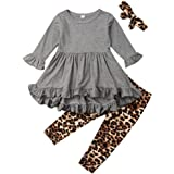 Fashion Kids Toddler Girl Long Sleeve Tunic Top Dress+Floral Pants Outfit Set Spring Fall Clothes