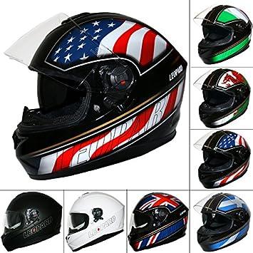 Leopard LEO-828 DVS Full Face Motorbike Helmet - Matt Black L (59-60cm) - Double Visor Motorcycle Helmet Touch Global Ltd