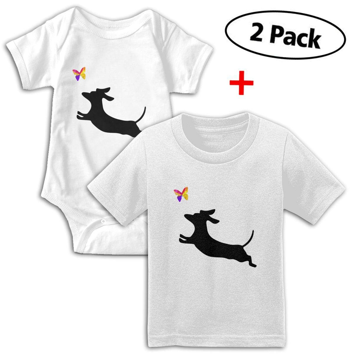 Daschund Dog My Best Friends Unisex Toddler Baby 2-Piece Short-Sleeve Bodysuit Baby T-Shirt Set