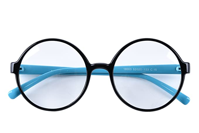 7652f3fd7b43 Agstum Retro Round Glasses Frame Clear Lens Fashion Circle Eyeglasses 52mm  (Black Blue