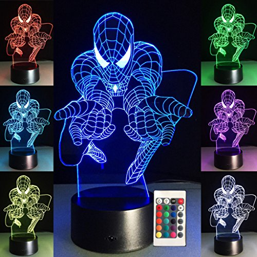 3D Night Lights for Kids 7 Colors 3D LED Illusion Lamp with Remote Control-Bedroom Table Lamp-Spiderman - 3 Light Art