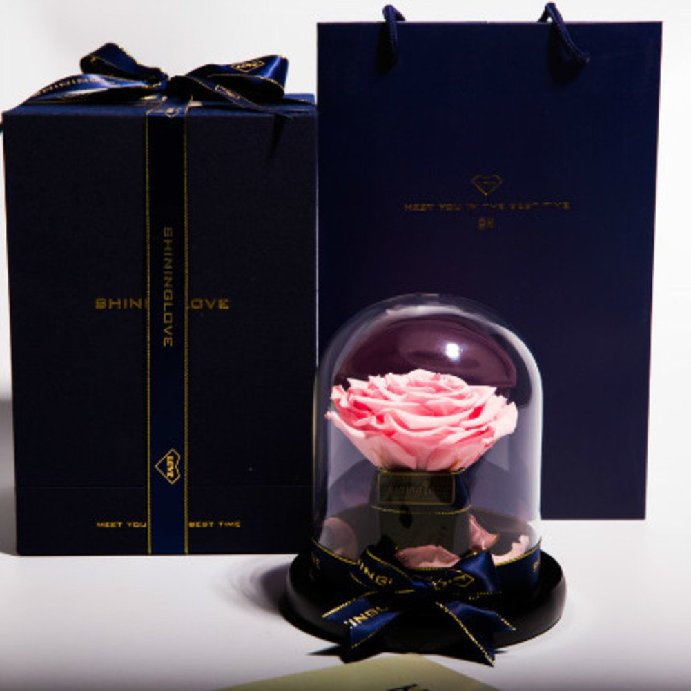 Rose ornaments,Eternal flower Flowers Artificial flower gift box Send to your girl friend Christmas day Decoration-D 14x16cm(6x6inch)