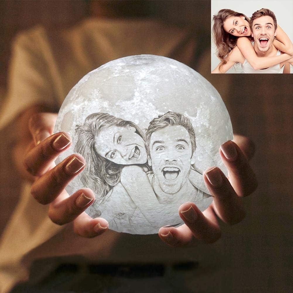 Foto personalizada Lampara Luna 3D LED Moon Lamp, Lámpara magica de Luna, Recargable de USB, Lámpara para Decoración Habitación, Regalo de Cumpleaños, Año Nuevo y Aniversario (7.1inch/18cm)