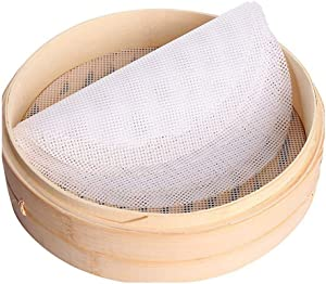 Set of 3 Silicone Steamer Mesh, INCHANT Reusable Kitchen Steamer Mat Liners, Round 15.7 Inch Non-stick Dumplings Mat Pad Steamed For Steaming Basket, Cooking