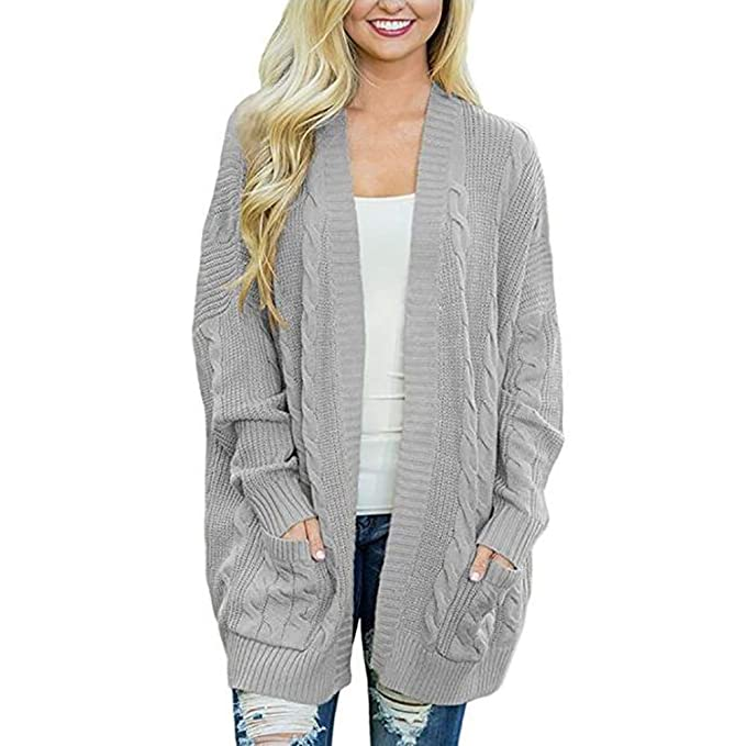 7536e1e097 Mcuppe-Womens Open Front Long Sleeve Twist Knit Cardigans Casual Sweater  Oversize Coat with Pocket