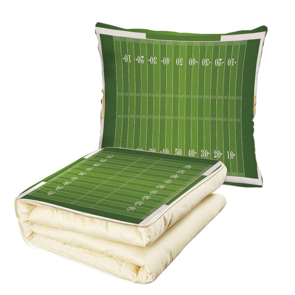 Quilt Dual-Use Pillow Football Sports Field in Green Gridiron Yard Competitive Games College Teamwork Superbowl Multifunctional Air-Conditioning Quilt Green White