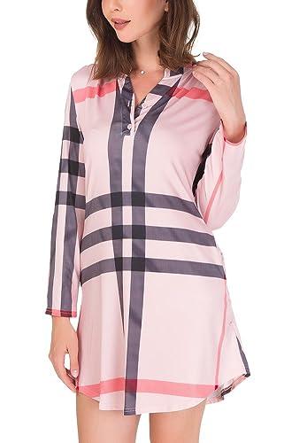 Jusfitsu Mujer con cuello en V Camiseta Blusa Casual Top de manga larga