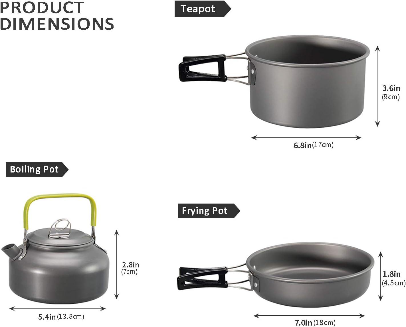 Backpacking Lightweight Cookset Metal Stackable Hiking Portable Mess Kit Flytool 9pcs Camping Cookware Set